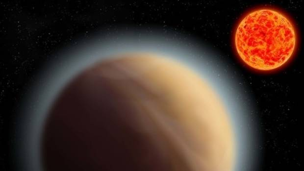 An artist's impression of an exoplanet with a detectable atmosphere.
