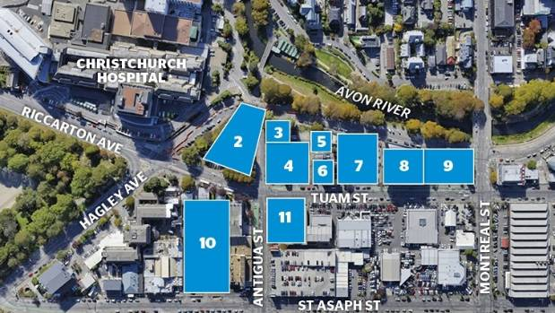 Map of the precinct: (2) Christchurch Hospital Outpatients building, opening 2018. (3) Terrace House, existing small ...