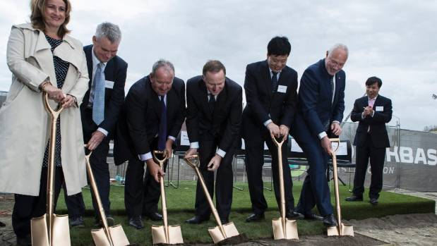 Golden spades: John Key (centre) with health board and developers turning first sod on HREF in late 2016.