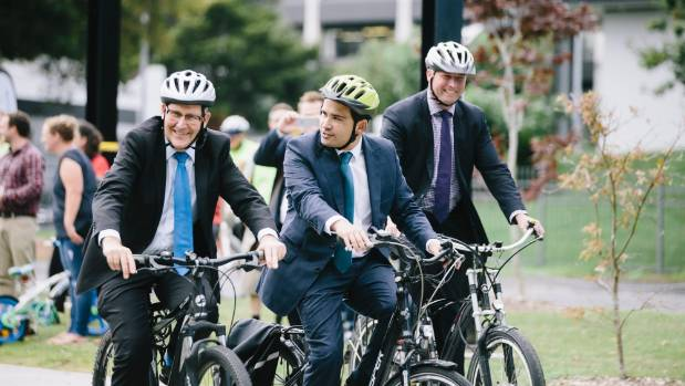 Hamilton Mayor, Andrew King, transport minister Simon Bridges and Hamilton East MP David Bennett didn't want to be left ...
