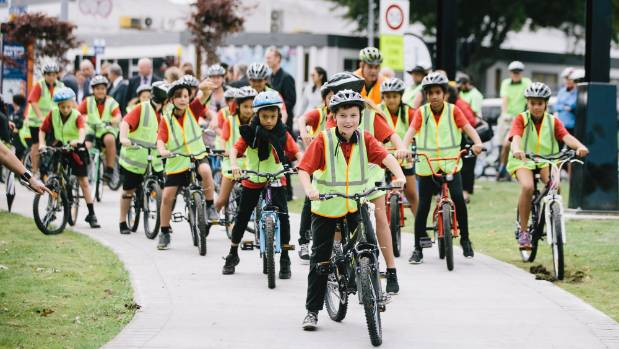 The 2.7km shared path links the city's southwestern suburbs with the city centre. Rhode Street School students came to ...