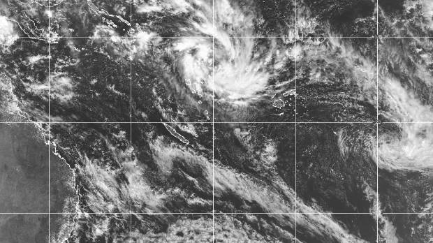 A tropical disturbance near Fiji in the south Pacific on Friday. New Caledonia is near the centre.