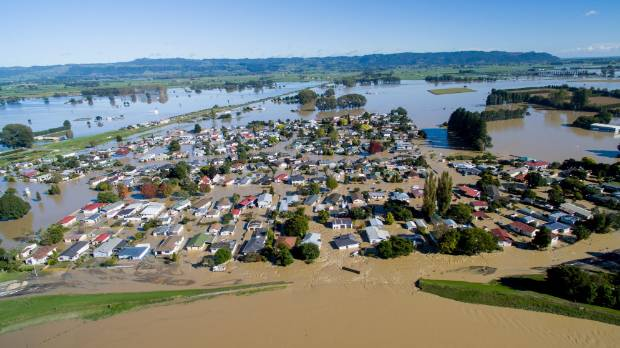 Edgecumbe was inundated when a stopbank failed and the township flooded.