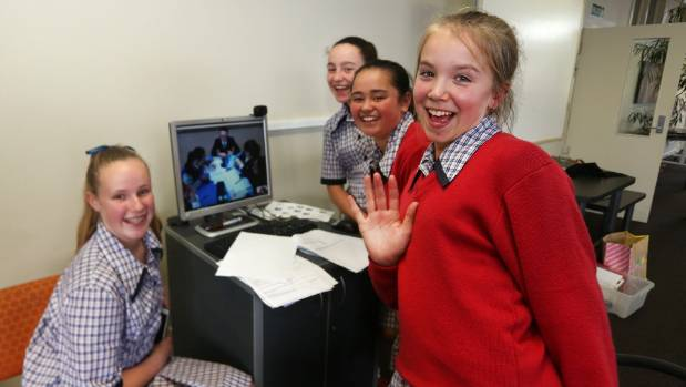 Southland Girls' High School students Emma Gray, 13, Jasmine Ridd, 12, Katie-Ana Rangi, 12, and Hannah Symon, 12, on a ...