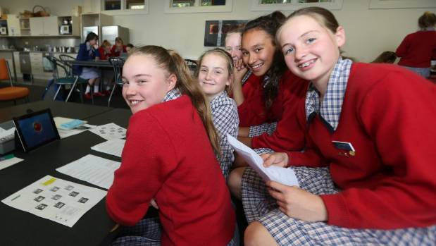 Southland Girls' High School students Emma Kahukura,12, Lily Duncan, 12, Alice Napier, 13, Christina White, 12, and Dee ...