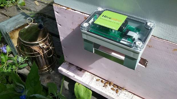 The Hivemind device which sends information to beekeepers about the state of their hives.