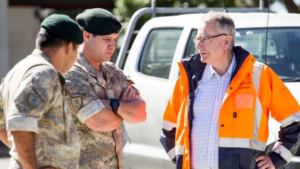 Mayor Tony Bonne meets with New Zealand Defence Force personnel earlier this week.