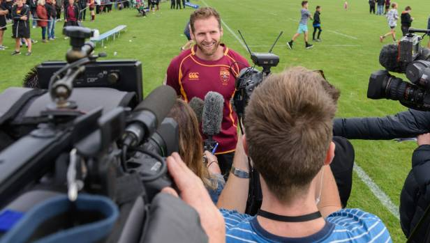 There was plenty of media interest in Kieran Read's return to the playing field.