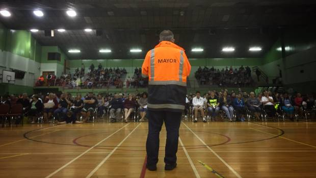 Mayor Tony Bonne fronts disgruntled Edgecumbe residents at emergency town hall meeting.