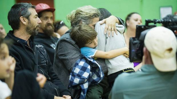 Residents of Edgecumbe are distraught during a community meeting in Whakatane.