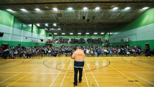 The mayor fronts disgruntled Edgecumbe residents at an emergency town hall meeting on Saturday.