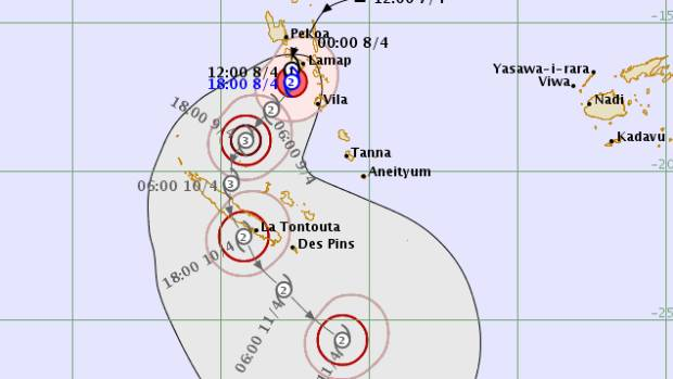 Cyclone Cook was poised to shift south from Vanuatu to New Caledonia.