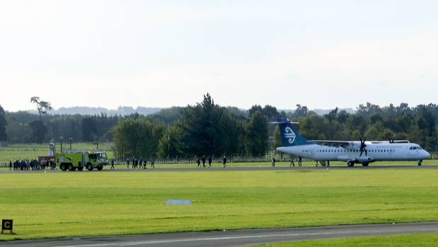 Flight NZ5075 after making an emergency landing at Palmerston North Airport. All passengers and crew got off safely.