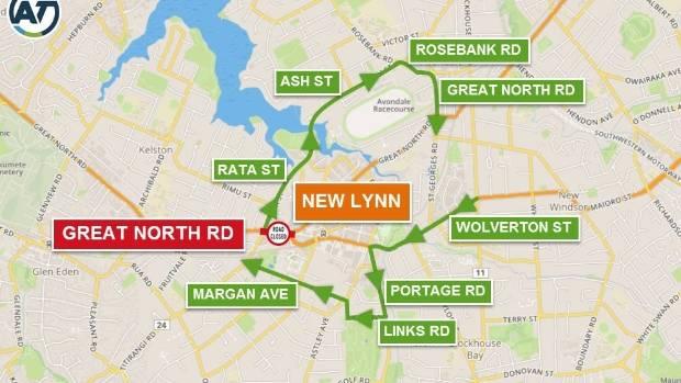 Auckland Transport's New Lynn detours map.
