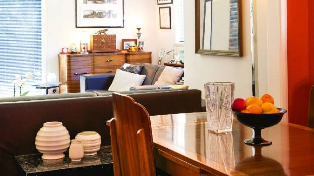 The art deco dining suite and sideboard were bought at an antiques fair in Wellington.