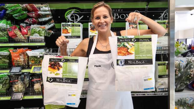 Paula Kilkelly with her Inspire Meal Bags at Freshchoice Nelson.