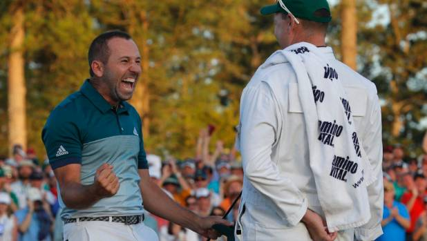 Sergio Garcia celebrates winning his maiden golf major the Masters at Augusta National