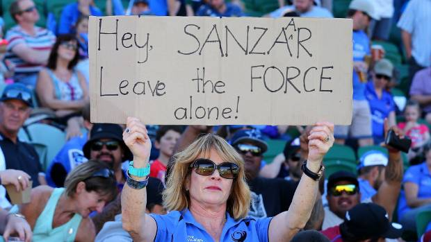A fan shows her support for the Western Force.