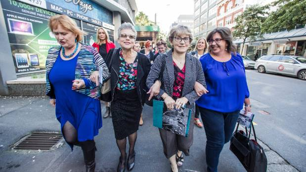 NZEI President Lynda Stuart, and support workers Kathy Power, Mary Jones, and Jacoline Brink make their way to mediation ...