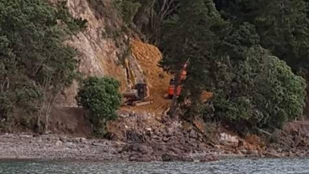 Contractors work to fix the slip between Tapu and Waiomu which closed the road for nearly a week in April.