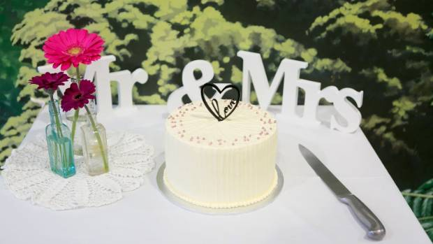 The wedding cake was made by Sweet Cakery and Bakery in Karori.