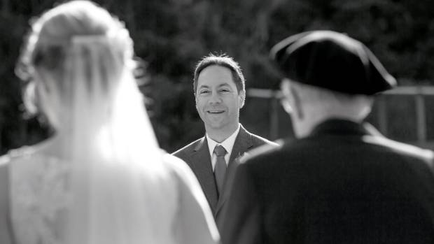 Greg's first glimpse of the bride as Kate walks down the aisle.