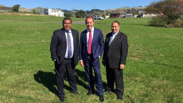Labour MPs Kris Faafoi, Andrew Little and Adrian Rurawhe on the empty Castor Loop land.
