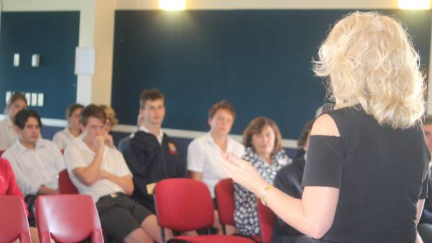 Diana Harrington speaking to students at a lunchtime meeting at St Peter's School.