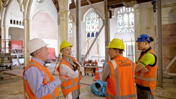 Parish Priest Father Barry Scannell, left, councillors Nicola Young and Andy Foster, and L T McGuinness site foreman ...
