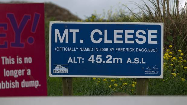 The Mt Cleese sign at the Awapuni Resource Recovery Park (formerly the dump) in Palmerston North. The sign was erected ...