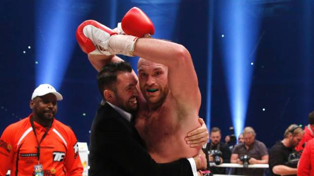 Hughie Fury, left, celebrates with Tyson Fury after the big Brit's world title win over Wladimir Klitschko.