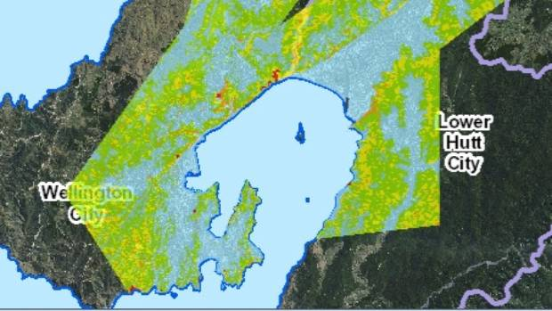 This map shows the landslide risk across Wellington. Blue areas a low risk, green areas are a low-moderate risk, yellow ...