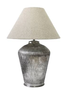 Leopold Hall handmade brass ribbed lamp in antique silver finish, $435.