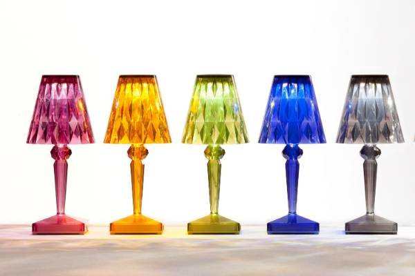 The Battery Lamp from Kartell adds a dash of colour to any room.