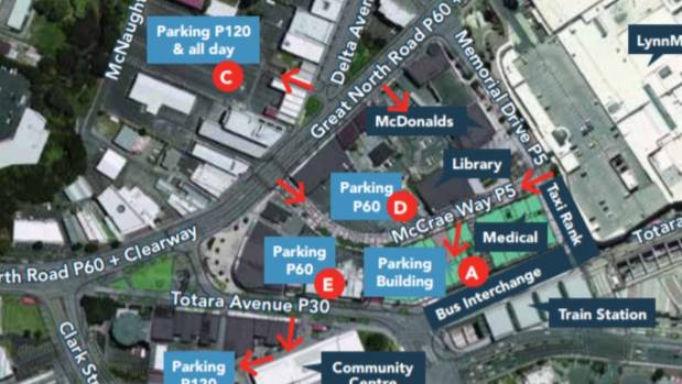 In an Auckland Transport 2013 parking guide, the areas to be disposed off are identified as areas D and E and are called ...