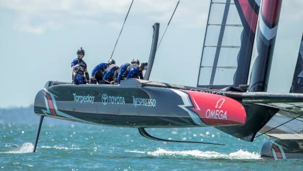 Peter Burling looks comfortable at the helm of Team New Zealand.