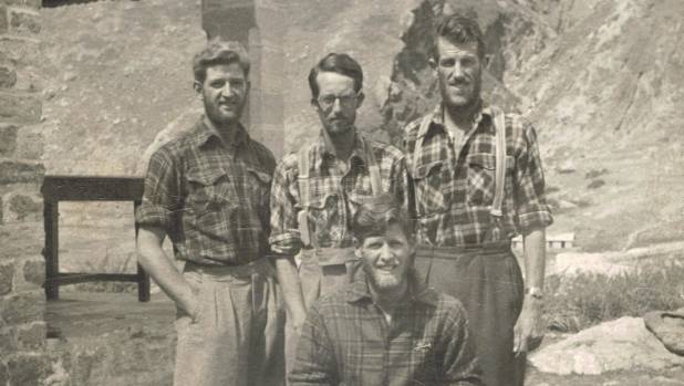 The 1951 NZ Himalaya expedition, from left: George Lowe, Earle Riddiford, Edmund Hillary and Ed Cotter, sitting.