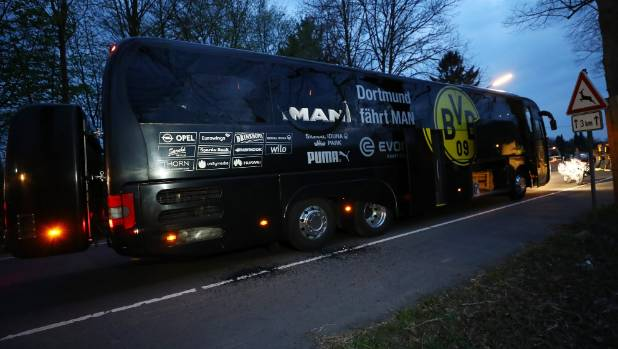 The Borussia Dortmund bus took the impact of an explosion at its rear.