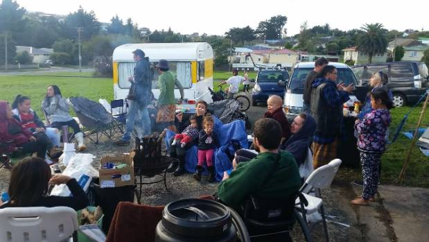 Camping on Castor Cres, Cannons Creek, Porirua.