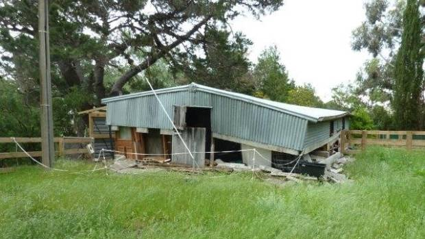 A damaged woolshed in Ward after the quake.