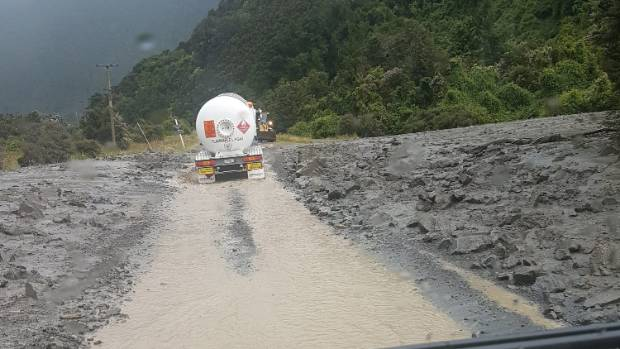 Flooding on the road at Lewis Pass in January.