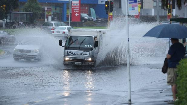 Localised downpours across Auckland were causing surface flooding.