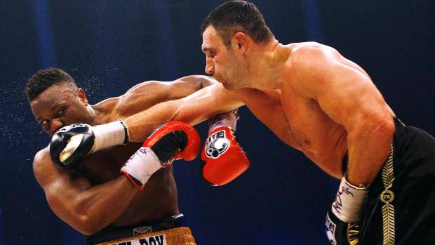 WBC heavyweight champion Vitali Klitschko deals out some punishment to Dereck Chisora during their 2012 title bout.