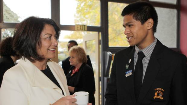 The then year 12 student, Wesley Mauafu, meets the minister of education Hekia Parata at Linwood College in 2012.