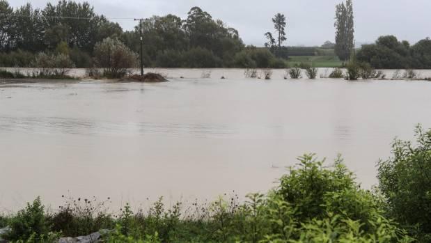 The flooded Waimea River near the Appleby Bridge.