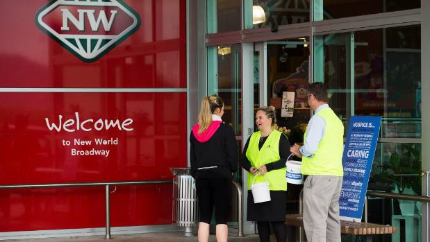 The entrance to Melody's New World in Palmerston North is used as more than just a store front.