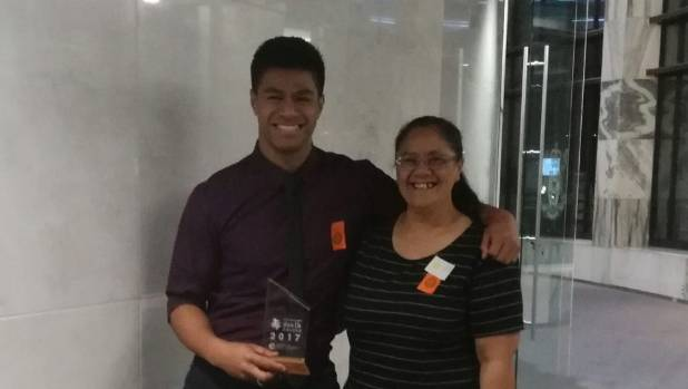 Wesley Mauafu with his mum at the New Zealand Youth Awards ceremony on Tuesday evening.