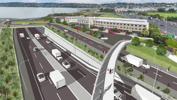 Artistic impression's show the proposed East West Link's roading trench and pedestrian bridge near Onehunga wharf.