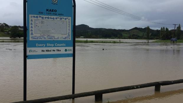 Floodwaters cover parts of Kaeo in Northland.