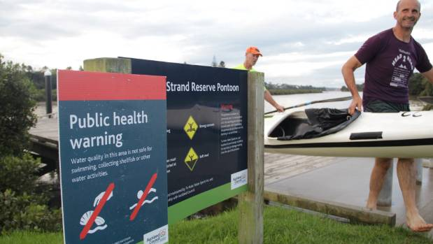 Bruce Stuart and Phil Exeter go kayaking at Taipari Strand in Te Atatu, where sewage overflows into the harbour during ...
